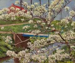 Bieling H.F. - Bloesemboom, olieverf op doek 38 x 45,4 cm , gesigneerd l.o.