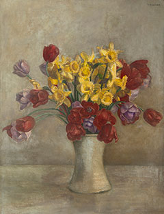 Vilmos Huszár - Tulips and daffodils in a vase, oil on canvas 68.1 x 52.9 cm, signed u.r.