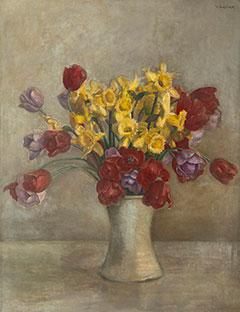 Vilmos Huszár - Stilleven met tulpen en narcissen, olieverf op doek 68,1 x 52,9 cm , gesigneerd r.b.