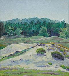 Vilmos Huszár - Landschap bij Hulshorst, olieverf op doek op paneel 38,4 x 34,3 cm , gesigneerd l.o.