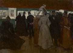 Arntzenius P.F.N.J. - Exhibition in Pulchri, The Hague, oil on canvas laid down on board 45.2 x 59.8 cm , painted ca. 1895