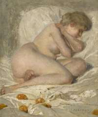 Haverman H.J. - Sleeping nude, oil on canvas 30.5 x 25.7 cm , signed l.r.