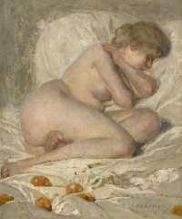 Haverman H.J. - Slapend naakt, olieverf op doek 30,5 x 25,7 cm, gesigneerd r.o.