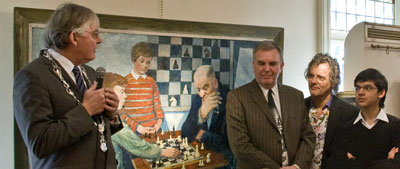 Cees van der Knaap, Hans Böhm, Frank Buunk en Anish Giri op het Bobby Fischerhuis Schaakfeest, januari 2011.