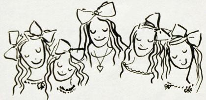 Vijf meisjes, één van de – door de prinses zo genoemde – 'strooitekeningen'