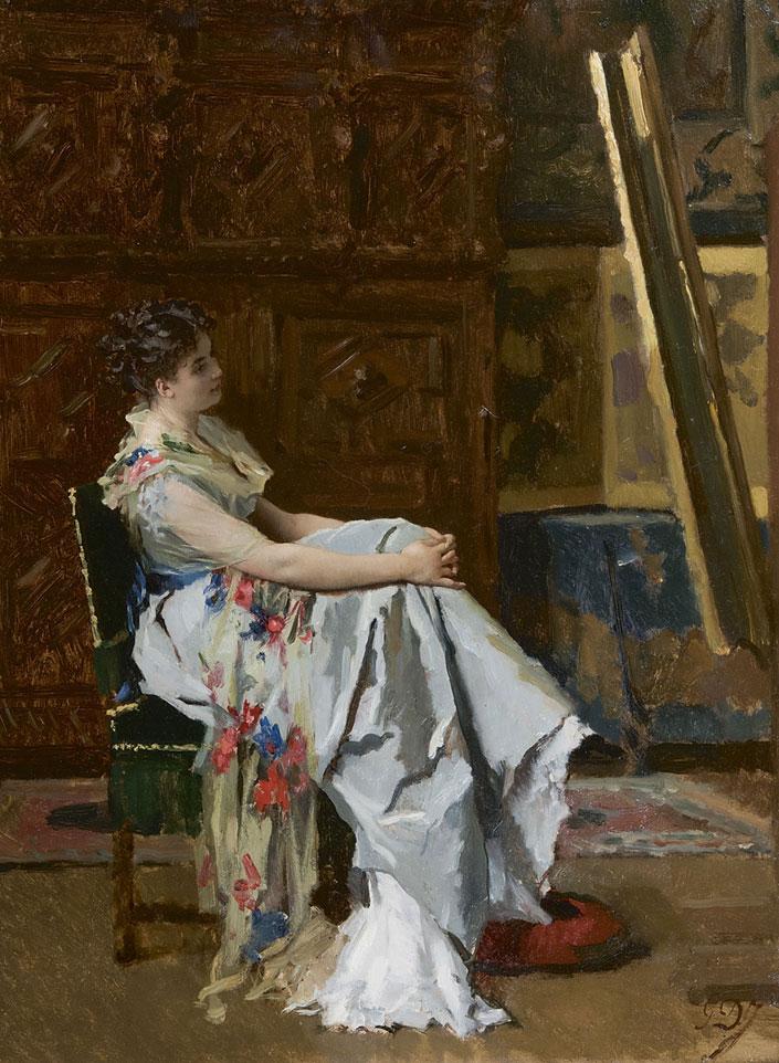 G.L. de Jonghe (1829-1893) 'In bewondering voor het schilderij', olieverf op paneel 50 x 37 cm, gesign.