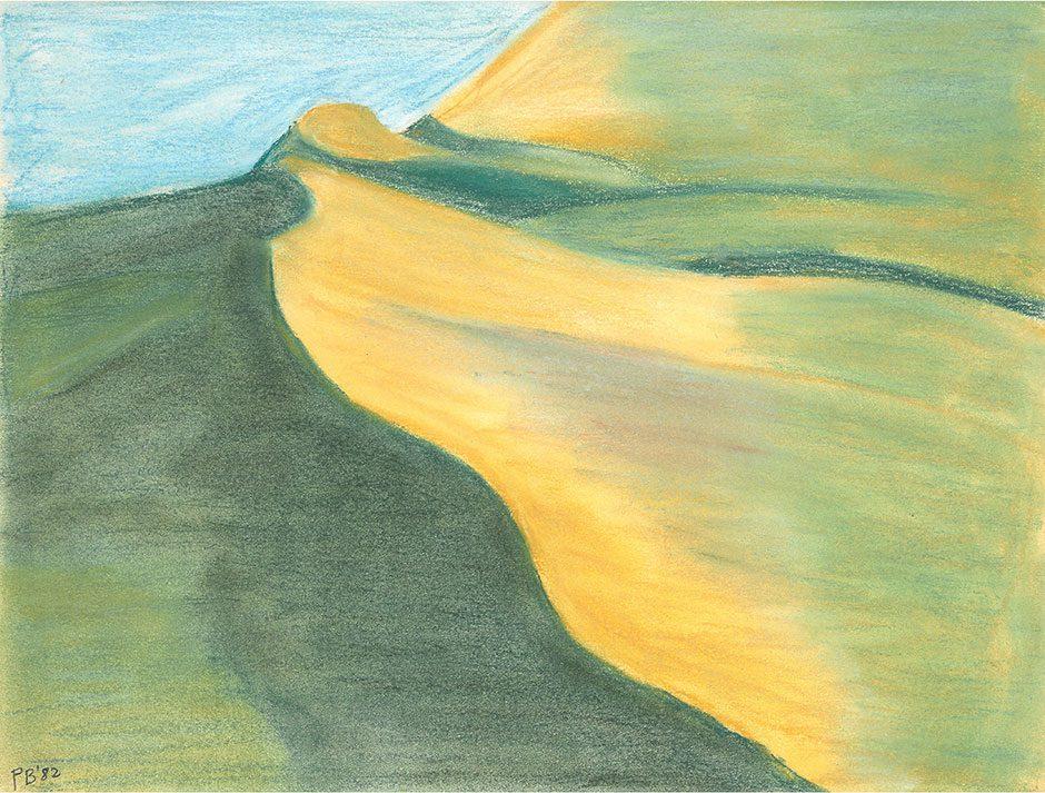 Berglandschap, pastel die prins Bernhard in 1982 vervaardigde.