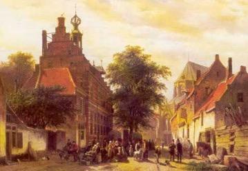 Sfeerbeeld van de Raadhuisstraat in Naarden op een schilderij van Cornelis Springer (1817-1891).