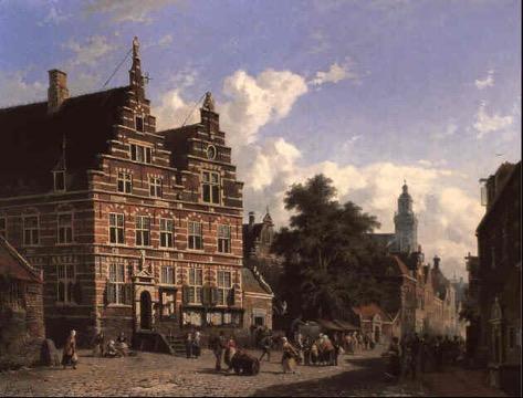 Adrianus Eversen (Amsterdam 1818-1897 Delft) Groentehandel voor het Oude Stadhuis Naarden Vesting