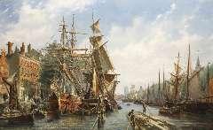 Velden P. van der - Leuvehaven, Rotterdam, olieverf op doek 79,3 x 130,5 cm , gesigneerd r.o. en gedateerd 1867
