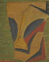 Rees O. van - Mannenkop, polychroom houtreliëf 15,4 x 12,5 cm , te dateren ca. 1910