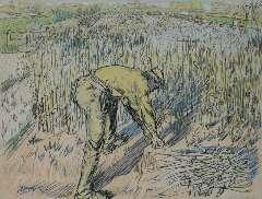 Toorop J. Th. - Bonensnijder, potlood en gekleurd krijt op papier 48 x 62 cm , gesigneerd l.o. en gedateerd 1905