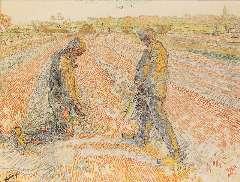 Toorop J. Th. - Aardappels rapen, potlood en gekleurd krijt op papier 47,9 x 62,2 cm , gesigneerd l.o. en gedateerd 1907