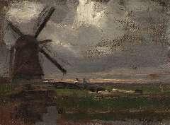 Mondriaan P.C. - De Broekzijdse Molen aan het Gein, olieverf op doek op paneel 34,6 x 46,3 cm , gesigneerd r.o. en te dateren ca. 1905