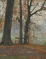 Bogaerts J.J.M. - Bankje in een herfstbos, olieverf op doek 38,3 x 30,3 cm , gesigneerd r.o. en gedateerd 1915