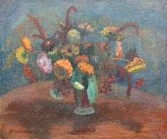 Modersohn O. - Bloemstilleven met zinnia's, olieverf op doek 50,9 x 61,2 cm , gesigneerd l.o. en gedateerd '36