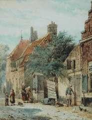 Springer C. - De Grote Poortstraat, hoek Kromhoutsteeg, te Harderwijk, aquarel op papier 27 x 21,6 cm , gesigneerd l.o. en gedateerd 1863