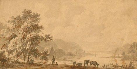 Koekkoek M.A. - Riviervallei met herder en grazend vee, gewassen pen op papier 7,4 x 14,2 cm , gesigneerd verso en geschonken aan Museum B.C. Koekkoek-Haus, Kleef