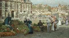 Klinkenberg J.C.K. - Gezicht op de Grote Markt in Den Haag met twee vrouwen in Zuid-Hollandse dracht, olieverf op doek 82,1 x 144 cm , gesigneerd r.o.
