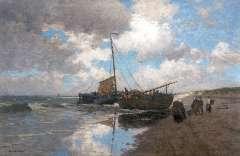 Heimes H. - Na de vangst, Egmond aan zee, olieverf op doek 111,6 x 169,2 cm , gesigneerd l.o.