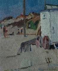 Kuijten H.J. - Strand met baders en badkoets, olieverf op board 42,3 x 34,5 cm , gesigneerd r.o. en te dateren ca. 1917