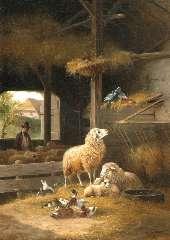 Knip A. - Lente in de schaapskooi, olieverf op doek 106,5 x 76,3 cm , gesigneerd r.o. en gedateerd 'Baden Baden 1858'