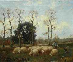 Nefkens M.J. - Herder en hond met kudde schapen, olieverf op doek 50 x 61 cm , gesigneerd l.o.