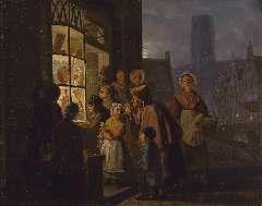 Grootvelt J.H. van - De uitstalling van suikerwerk voor het Sint Nicolaasfeest, olieverf op paneel 40,1 x 48 cm , gesigneerd m.o. en gedateerd 1841