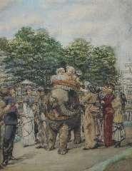 Horrix H.M. - De dierentuin in Den Haag: een ritje op de olifant, aquarel op papier 28,5 x 22,3 cm , gesigneerd r.o.