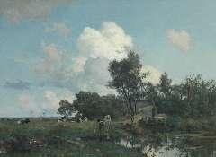 Tholen W.B. - Zomers boerenlandschap, olieverf op doek 75 x 99,5 cm , gesigneerd l.o.