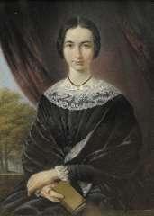 Daiwaille J.A. - Portret van een jonge vrouw, pastel op papier 35,7 x 25,9 cm , geschonken aan Museum B.C. Koekkoek-Haus, Kleef