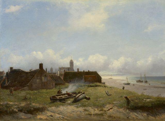 Deventer W.A. van - Gezicht op Katwijk, olieverf op paneel 37,3 x 51 cm , gesigneerd l.o. en gedateerd 1868