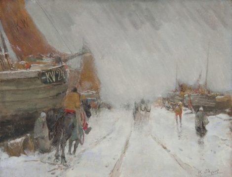 Stacquet H. - De KW 24 in de sneeuw, gouache op papier 50 x 60 cm , gesigneerd r.o.