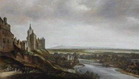 Koninck J. - Bleekvelden bij Kleef met kasteel Schwanenburg, olieverf op paneel 41,5 x 71,9 cm , te dateren ca.1650-1700