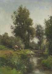 Rip W.C. - Schilders aan het werk in het Geuldal, Limburg, olieverf op doek 65,4 x 46,4 cm , gesigneerd r.o.