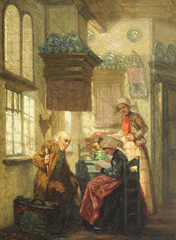 Sebes P.W. - Hindelooper interieur, olieverf op paneel 21,4 x 15,7 cm , gesigneerd l.o.