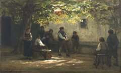 Sadée P.L.J.F. - Kegelen op de binnenplaats, Limburg, olieverf op papier op paneel 21 x 33,3 cm , gesigneerd l.o.