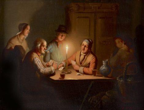 Culverhouse J.M. - Kaartspelers bij kaarslicht, met minnekozend paar, olieverf op paneel 23,6 x 31,2 cm , gesigneerd r.o.