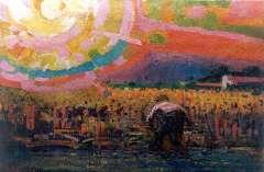 Gouwe A.H. - De maaier, olie op doek 52,4 x 77,2 cm , gesigneerd l.o.