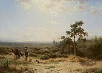Lieste/Rochussen C./C. - Koning Willem III en koningin Sophie te paard op Het Loo, olieverf op paneel 34,6 x 46,3 cm , gesigneerd l.o. 'Lieste' en 'CR'