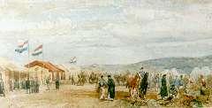 Rochussen Ch. - Artilleriekamp in de duinen, aquarel op papier 17,5 x 34,5 cm , gesigneerd me initialen l.o. en gedateerd '62
