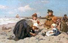 Akkeringa J.E.H. - Spelende kinderen op het strand, olieverf op paneel 27 x 42,3 cm , gesigneerd r.o.