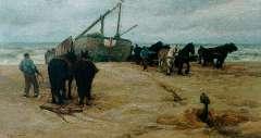 Farasijn E. - Het binnenhalen van de bomschuit, olieverf op doek 72,6 x 133 cm , gesigneerd l.o.