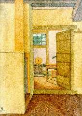 Bremmer H.P. - Doorkijkje – kolenhok met bijkeuken, olieverf op doek 36,4 x 25,9 cm , gesigneerd met monogram l.o. en gedateerd 12-7-1899