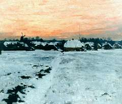 Witsen W.A. - Winteravond in Ede, olieverf op doek 45 x 54 cm , gesigneerd r.o. en te dateren ca. 1895