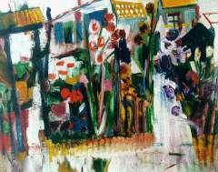 Velde A.G. van - Tuin met bloemen, olieverf op doek 80 x 99,3 cm , gesigneerd l.o. en gedateerd '27