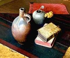Tongeren J. van - Stilleven met boeken, kruik en vaas, olieverf op doek 50,4 x 60 cm , gesigneerd r.b. en gedateerd 1942