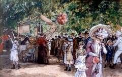 Horrix H.M. - In de Haagsche dierentuin, aquarel op papier 29,5 x 46 cm , gesigneerd r.o. en te dateren 1890-1900