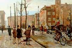 Dülmen Krumpelmann E.B. von - Fietsers en auto's op de Postjesweg in Amsterdam-West, olieverf op doek 65,4 x 95 cm , gesigneerd l.o.