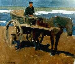 Pollones J.A. - Strandgezicht met paard en wagen, olieverf op doek 27,4 x 31,4 cm , gesigneerd l.o.